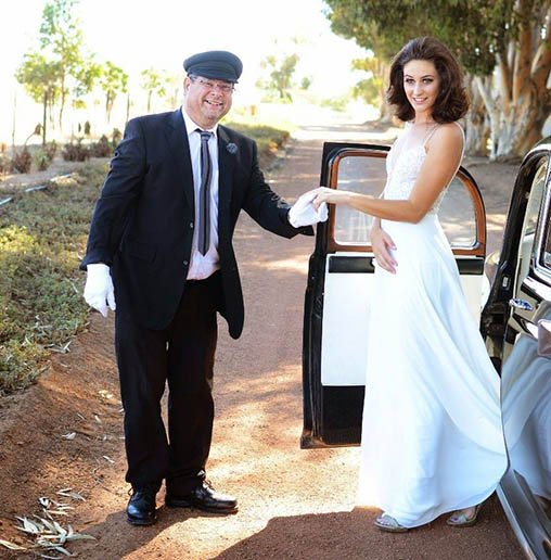 Danie and his 1956 Rover P4 with bride